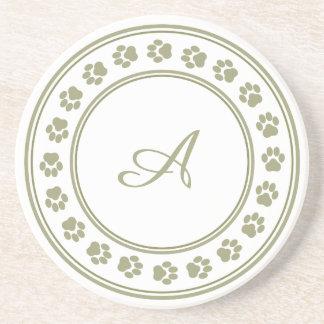 Sage Green Paw Print Monogram Coaster