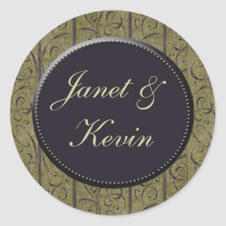 Sage green / purple damask wedding stickers