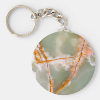 Sage Green Quartz with Rusty Veins Key Ring