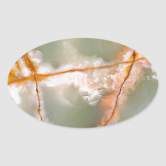 Sage Green Quartz with Rusty Veins Oval Sticker
