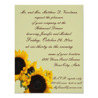 Sage Green Rehearsal Dinner Sunflower Invite