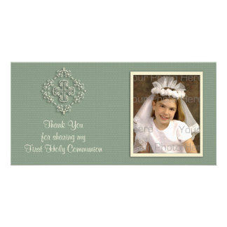 Sage Green Religious Thank You Photo Card