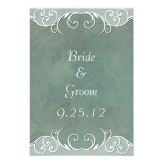 Sage Green Rose and White Wedding Save the Date Personalized Invite