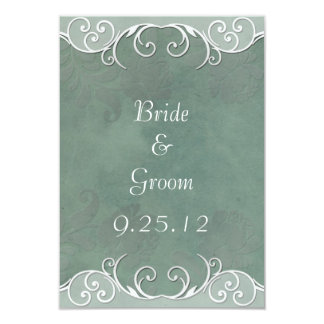 Sage Green Rose and White Wedding Save the Date 3.5x5 Paper Invitation Card