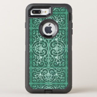 Sage green scrollwork pattern OtterBox defender iPhone 8 plus/7 plus case