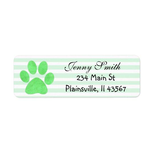 Sage Green Striped Paw Print Return Address Labels