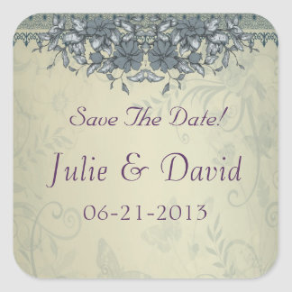 Sage Green Vintage Lace Wedding Save The Date Square Sticker