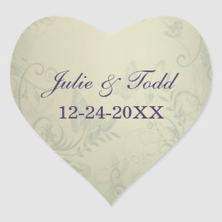 Sage Green Vintage Wedding Save The Date Heart Sticker