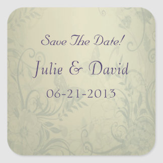 Sage Green Vintage Wedding Save The Date Square Sticker