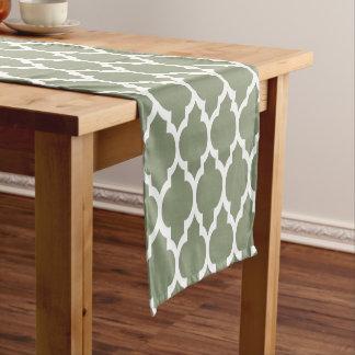 Sage Green White Moroccan #4LG Pattern Short Table Runner