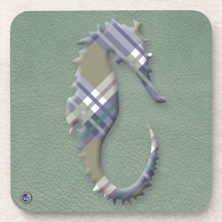 Sage & Grey Checks on Leather Texture Drink Coaster