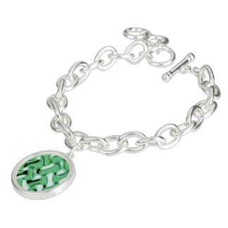 Sage & Ivory Bangle Bracelet with Round Charm