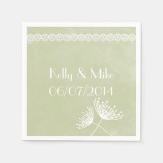 Sage Lace and Floral Wedding Napkins Paper Napkin