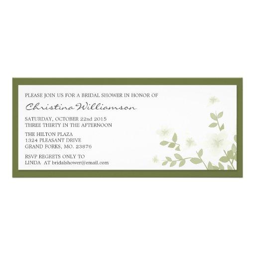 Sage Long Floral Bridal Shower Invitations
