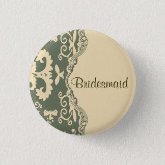 sage paisley western country wedding bridesmaid 3 cm round badge