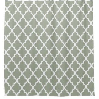 Sage Quatrefoil Pattern Shower Curtain