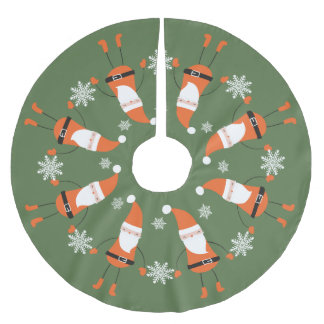 Sage Santas and Snowflakes Brushed Polyester Tree Skirt