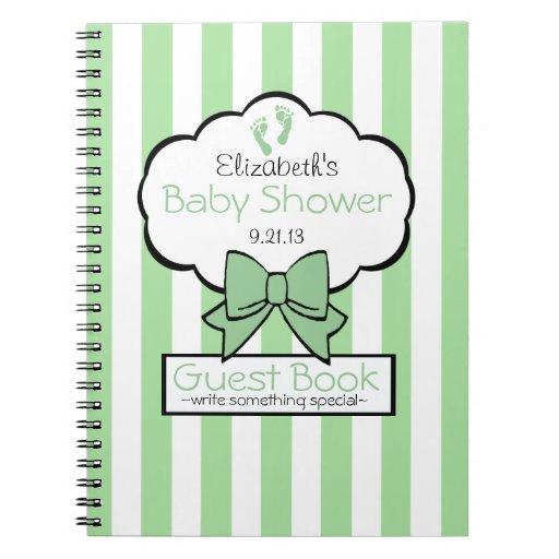 Sage Striped Baby Shower Guest Book- Spiral Note Books