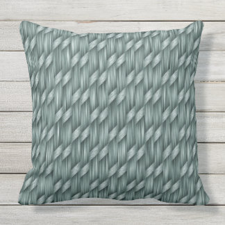 Sage Weave Pattern Outdoor Decorative Throw Pillow