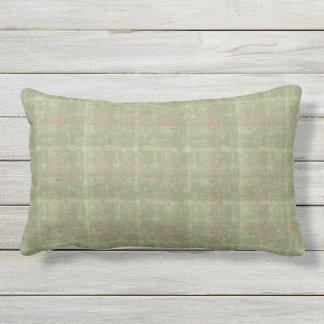 Sage with Coral Fleck Check Outdoor Lumbar  Pillow