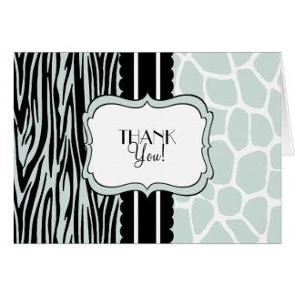 Sage Zebra and Giraffe-Thank You Card