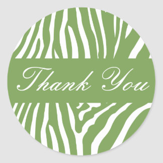Sage Zebra Thank You Envelope Sticker Seal