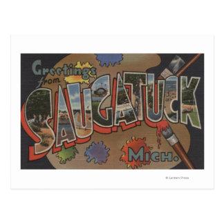 Saginaw, Michigan - Large Letter Scenes Postcard