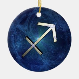 Sagitarius Double-Sided Ceramic Round Christmas Ornament