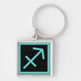 Sagittarius Aqua Zodiac Design Premium Keychain