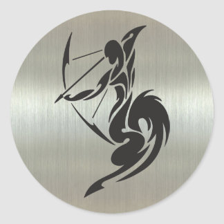 Sagittarius Archer Silhouette with Metallic Effect Round Sticker