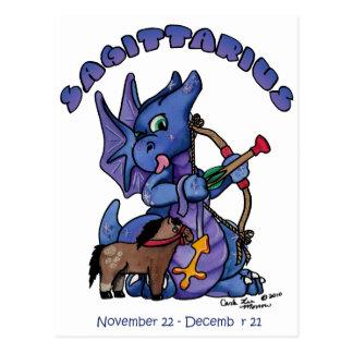 sagittarius cute zodiac baby dragon post cards