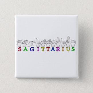 SAGITTARIUS FINGERSPELLED ASL NAME SIGN 15 CM SQUARE BADGE