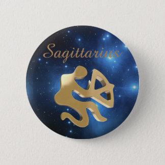Sagittarius golden sign 6 cm round badge