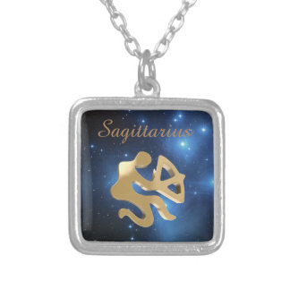 Sagittarius golden sign square pendant necklace