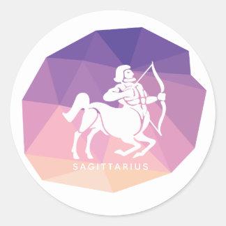 Sagittarius horoscope sign violet modern sticker. classic round sticker