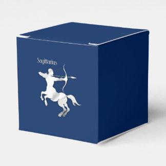 Sagittarius Silver Archer Zodiac Navy Blue Favour Box