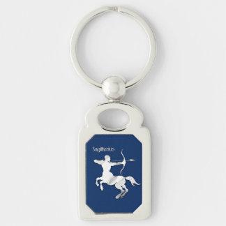 Sagittarius Silver Archer Zodiac Navy Blue Key Ring