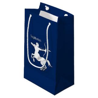 Sagittarius Silver Archer Zodiac Navy Blue Small Gift Bag