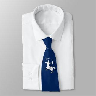 Sagittarius Silver Archer Zodiac Navy Blue Tie