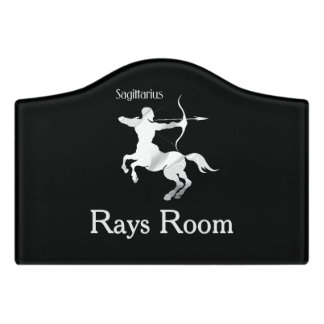 Sagittarius Silver Archer Zodiac Room Door Sign