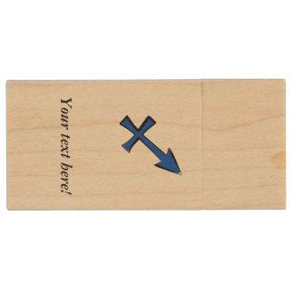Sagittarius symbol wood USB flash drive