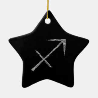 Sagittarius. Zodiac Astrology Sign. Black. Ceramic Star Decoration
