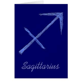Sagittarius. Zodiac Astrology Sign. Blue. Greeting Card