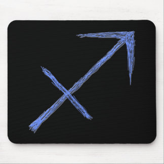 Sagittarius. Zodiac Astrology Sign. Blue. Mouse Pad