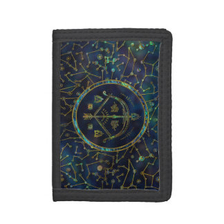 Sagittarius Zodiac Gold Abalone on Constellation Trifold Wallet