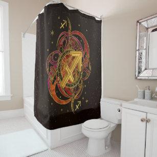 Sagittarius Zodiac Sign Fire Element Shower Curtain