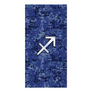 Sagittarius Zodiac Sign on Navy Digital Camo Photo Card