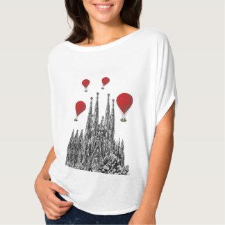 Sagrada Familia and Red Hot Air Balloons 2 T-Shirt