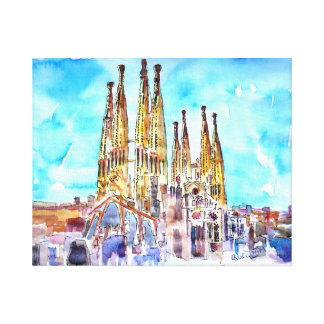 Sagrada Familia Barcelona watercolor painting Canvas Print