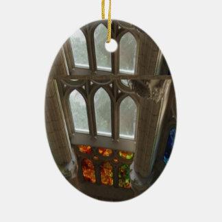 Sagrada familia Church Wall Windows Holy Spiritual Double-Sided Oval Ceramic Christmas Ornament